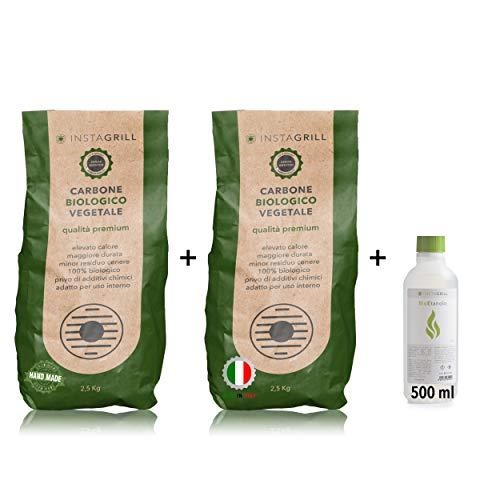 Carbonella per Barbecue Faggio e Leccio 2 x 2,5Kg = 5KG più 1 flacone 500ml BioEtanolo in Gel - Perfetto per Barbecue da Tavolo Senza Fumo - Adatto a Tutti i Barbecue - Made in Italy