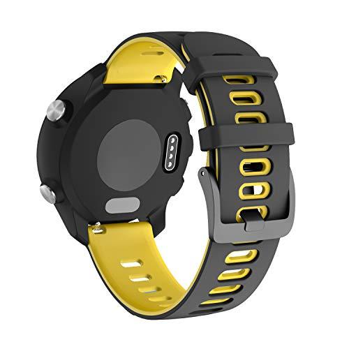 NotoCity für Garmin Vivoactive 3 Armband, 20mm Silikon Ersatzarmband Kompatibel mit Samsung Galaxy Active 2/ Gear Sport/Galaxy Watch 42 mm/Garmin Forerunner 645/245(Schwarz Gelb)