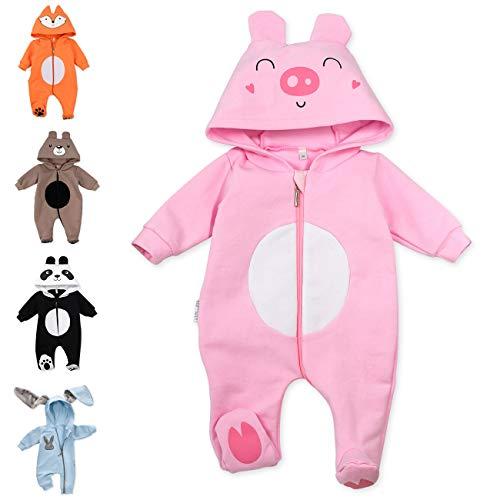 Baby Sweets Baby Tier Strampler Unisex rosa im Motiv: Schwein/Baby-Overall als Tierstrampler mit Kapuze für Neugeborene & Kleinkinder in der Größe 6-9 Monate (74)