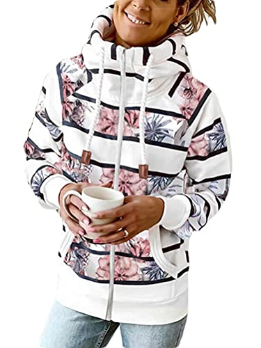 Onsoyours Sudaderas Mujer con Capucha Bloque de Color a Rayas Camiseta de Manga Larga Túnica Suéter con Cordón Pullover Tops con Bolsillos H Blanco M