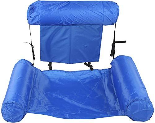 ZMDHL Aufblasbare Hängematte, Pool Float Lounge Wasserstuhl Wasser Hängematte 4-in-1 Ultrabequeme Luftmatratze Schwimmende Wasser Bett Matte Schwimmstuhl Poolsitze Liege.(Blau)