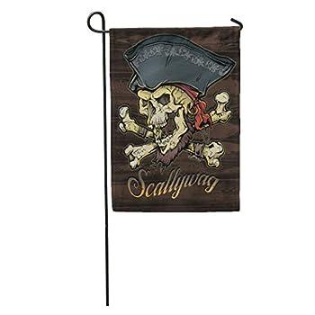 Semtomn Garden Flag Ship Skallywag Pirate Skull Flag Tattoo Death Sailor Wood Home Yard House Decor Barnner Outdoor Stand 12x18 Inches Flag