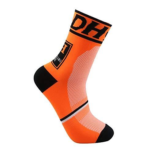 Wiwi.f Calcetines de ciclismo unisex, calcetines deportivos de carreras transpirables para el verano, entrenamiento antideslizante de montaña para practicar senderismo al aire libre (orange)