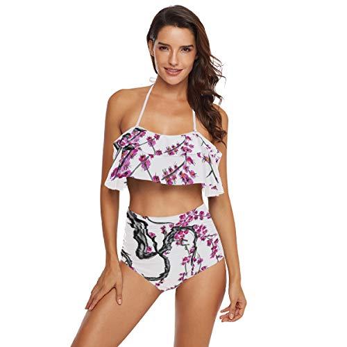 Ahomy Zweiteiliger Badeanzug für Frauen Sakura Aquarell Neckholder Bikini Set Damen Bademode Gr. Medium, Mehrfarbig