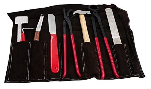 AMKA - Set di 8 attrezzi con custodia in pelle, per la cura e la riparazione degli zoccoli del cavallo