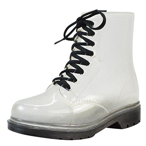 LvRao Damen Schnee Regen Schuhe Warm Transparente Stiefeletten Gefütterte Gummistiefel wasserdichte Kurze Stiefel mit Schnürsenkel Schwarz Europäische Größe 40