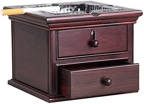 Cenicero, cenicero de madera con tapa de la caja de hollín de vidrio de época conveniente for los regalos de la casa (color: rojo, tamaño: 25,5x13,5x7 cm), Tamaño: 25.3x13.3x6.5cm, color: rojo