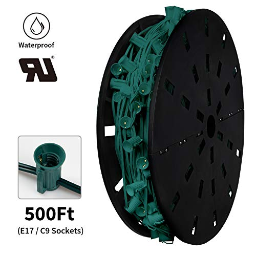 """Commercial C9 500' Christmas Light Sockets Set Spool - 12"""" Spacing Green Wire, UL Listed"""