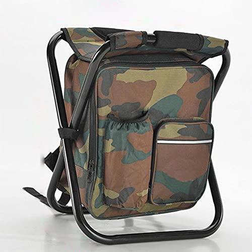 AKPO Silla de Pesca Plegable para Acampar al Aire Libre Taburete cómodo y Resistente Mochila portátil Bolsa de Asiento Silla de Pesca A