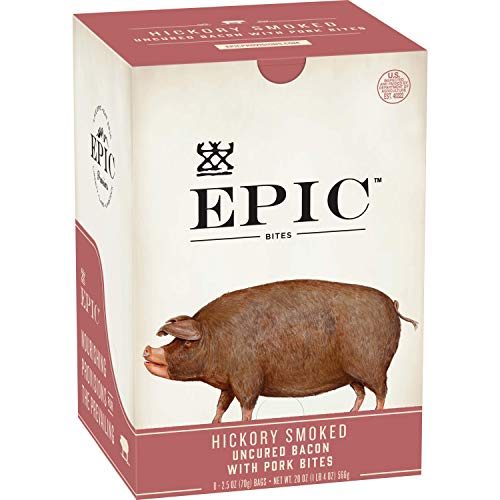 EPIC Uncured Bacon Protein Bites, Keto Friendly, 8Ct Box 2.5oz pouches