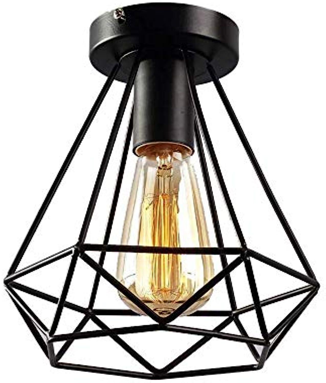 Deckenleuchte Modernes Diamantendesign mit 1 Leuchte E27 Deckenleuchte Deckenleuchte Deckenleuchte Küchenleuchte Eisenrahmen Lampe  21 cm Schwarz lackiert, G
