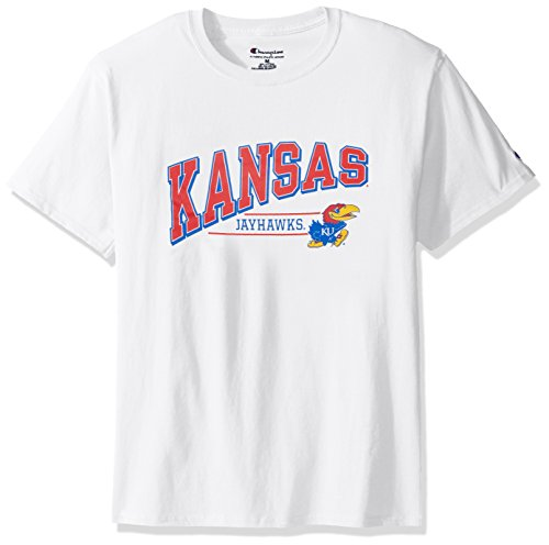 NCAA Kansas Jayhawks Men's Champ Short Sleeve T-Shirt 4, Medium, White