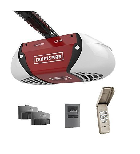 Craftsman ½ HP Chain Drive Garage Door Opener with two Multi-Function Remotes and Keypad...