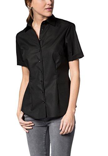 eterna Comfort Fit Bluse Halbarm Hemdenkragen Swiss+Cotton schwarz Größe 40