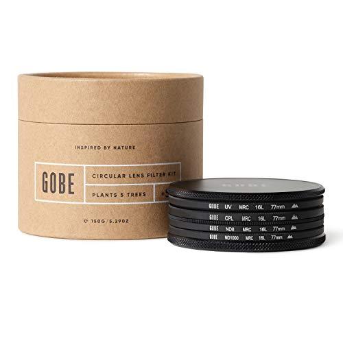 Gobe - Kit filtri per obiettivi 77 mm UV, polarizzatore circolare (CPL), ND8, ND1000 (2Peak)