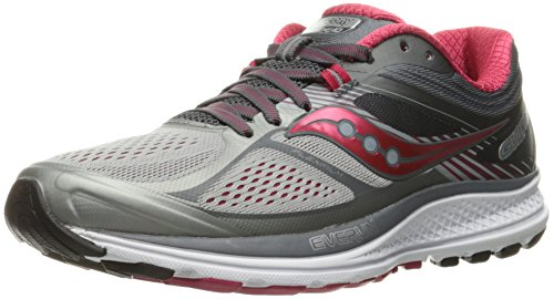 Saucony Women's Guide 10 Running Shoe, Silver | Berry, 8 M