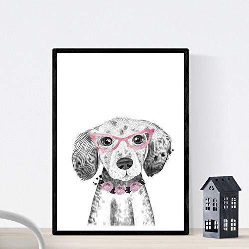 Blade voor honden hond drinkt met glazen en bloemen Dierenboegbeeld A4 Unframed