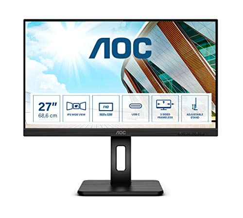 "AOC 27P2C Monitor - Home Office USB-C 27"", Full HD 1920x1080, 75Hz, AdaptiveSync, Altavoces, VESA, Altura Regulable (HDMI, Displayport 1.2, USB-C, 4xUSB 3.2)"