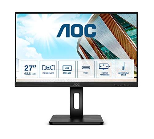 AOC 27P2C 68 cm (27 Zoll) Monitor (HDMI, DisplayPort, USB-C Docking, USB Hub, 4ms Reaktionszeit, 1920x1080, 75 Hz, Pivot) schwarz