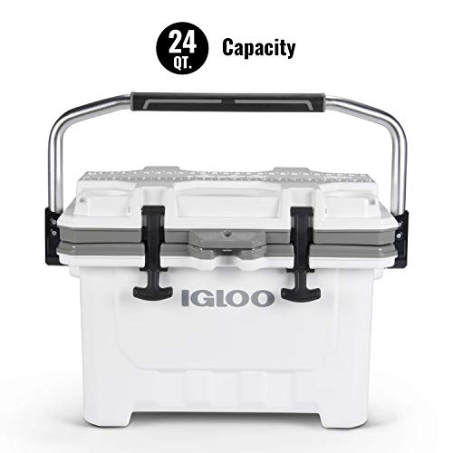 Igloo IMX 24 Quart Cooler with Cool Riser Technology, Fish Ruler, and Tie-Down Points - Heavy-Duty Marine Ice Chest (White)