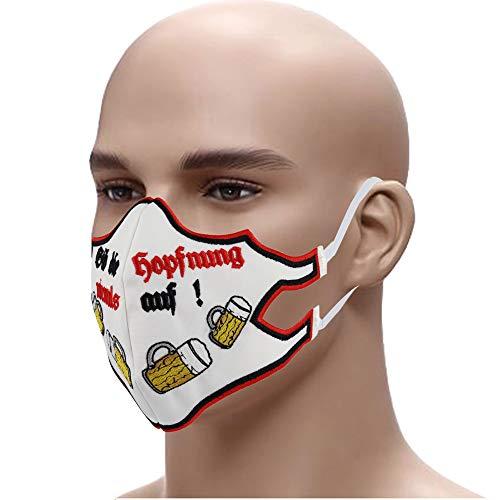 Gib die HOPFNUNG Niemals auf Lustiger Mundschutz ✚ Bier Stickerei ➤ Mehrweg ➤Stickerei 60° waschbar Face Mask Staubschutz