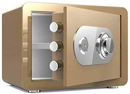 Vault kluis, mechanische blokkering + sleutelvak, hoge veiligheid staal, anti-diefstal-vuur- en waterdicht, elektronische meubelkluis (kleur: goud, maat: 35 * 25 * 25cm)