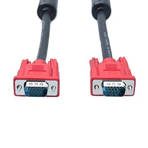DTECH Computer Monitor VGA Cable 5 Feet with Dual Ferrite Cores Standard 15 Pin Male to Male WireFull HD 1080P