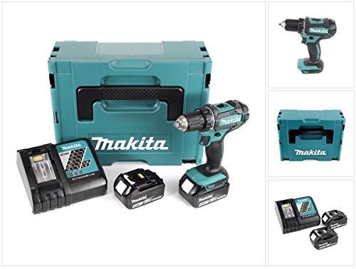 Makita DDF482RTJ Akku-Bohrschrauber mit zwei 5,0 Ah Akkus, 18 V, Blau, Silber