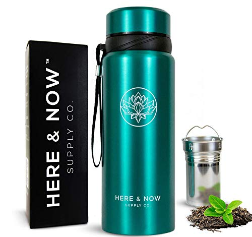 25 oz Multi-Function Travel Mug and Tumbler   Tea Infuser Water Bottle   Fruit Infused Flask   Hot & Cold Double Wall Stainless Steel Coffee Thermos   by Here & Now Supply Co. (Celestial Blue)