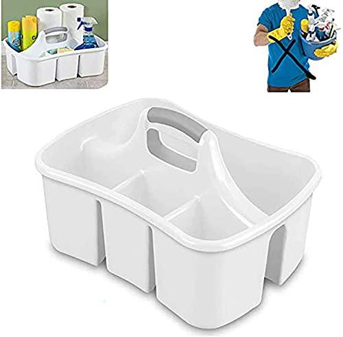 Caddy White - Väskor med delade fack och handtag för att organisera, lagra och bära städutrustning och rumstillbehör Premiumkvalitet