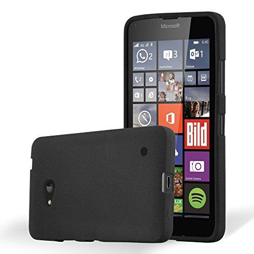 Cadorabo Custodia per Nokia Lumia 640 in FROST NERO - Morbida Cover Protettiva Sottile di Silicone TPU con Bordo Protezione - Ultra Slim Case Antiurto Gel Back Bumper Guscio