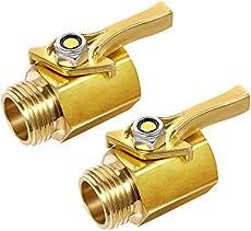 Jaina Brass Shut Off Valve Garden Hose Connector, 3/4'' Solid Brass Water Flow Control Heavy Duty Water Hose Connector Shut Off Ball Valve Faucet Hose Adapter (2pack & 4 Hose Washers)