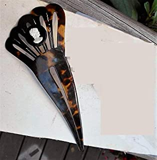 ONLY 1 LEFT Vintage Small Mantilla Hair Combs Carved Bali Buffalo Openwork Hair Combs with Celluloid Black & White Cameo.