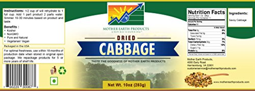 Mother Earth Products Dried Cabbage, Quart Jar