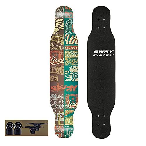 VOMI Skateboard de 7 Capas de Arce Monopatín Completo con Ruedas de PU y Rodamiento ABEC-9, Longboard 42 * 9 Pulgadas Tabla de Skate Doble Patada para Niños, Adolescentes, Adultos, Profesionale,B