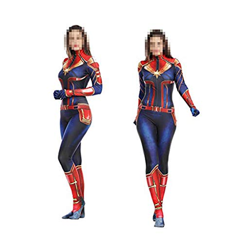 WOLJW Adult Bodysuit Jumpsuits Kledij Kapitein Marvel Cosplay Kostuum Movie Prop Halloween Christmas Performance Show (Maat: L(170-180))