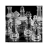 XHHDP niños, Familiares y Amigos Entretenimiento 2 en 1 Set de Dibujo y ajedrez/Mesa de Juego de Vidrio Esmerilado / 35 cm x 35 cm