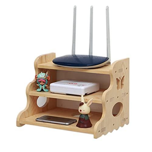 Almacenamiento De Enrutador Caja De Almacenamiento WiFi Set-Top Box Rack Caja Inalámbrica De Escritorio Enrutador Artefacto De Tira De Alimentación (Color : Varnish Color, Size : 32 * 24 * 24cm)