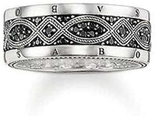THOMAS SABO Herren-Ring Silber Oxidiertes Zirkonia schwarz Gr. 56 (17.8) - TR2006-051-11-56