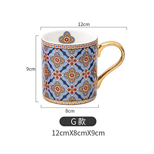 Gbcype, koffiemok met vintage textuur, goudkleurige greep, keramiek, Marokkaanse stijl, voor moeder, vrouwen, moeder, meisjes, bruiloft, 300 ml