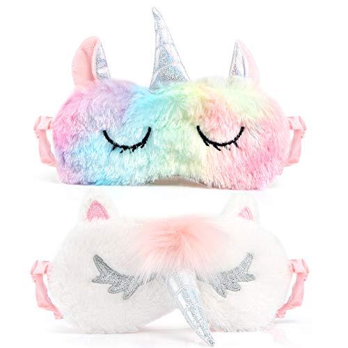 Kesote Máscaras para Dormir en Forma de Unicornio Antifaz para Dormir Unicornio para Viaje Pisolino Adecuado para Mujer, Hombre, Novio y Degradado de Color, Juego de 2