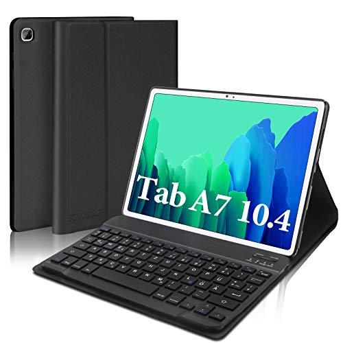 SENGBIRCH Tastatur Hülle für Samsung Galaxy Tab A7 10.4 2020, Schutzhülle mit Tastatur (Deutsch QWERTZ Layout) nur für Tab A7 10.4 (T505/T500/T507) - Schwarz