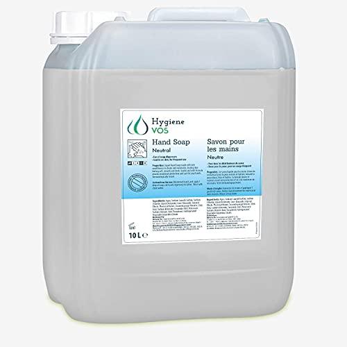 Hygiene VOS Savon Liquide 10 litres neutre sans parfum pour les Mains pH Neutre pour une Utilisation Quotidienne. Ingrédients Biodégradables