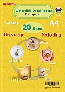 KE MENG A4 Laser Waterslide Decal Papers DIY Image Transfer Paper for Laser Printer (Transparent, 20 Sheets)