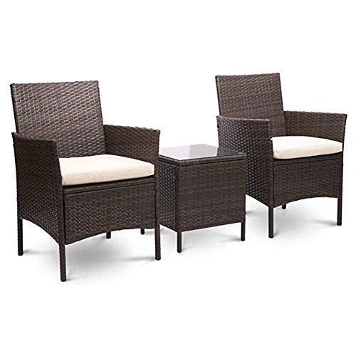 kaige Osier Meubles de Jardin Ensemble 3 pièces Patio extérieur en rotin Ensemble de Patio Comprend Coussin Une Table en Verre Noir, Brun, Brun WKY (Color : Brown)