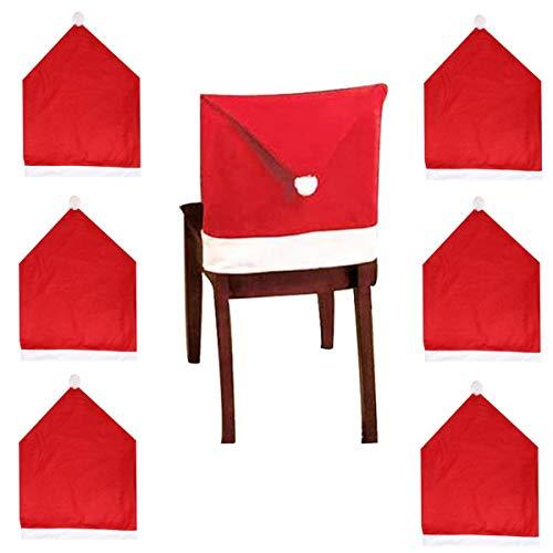 tangger 6PCS Rote Weihnachtsmütze Stuhl 50 * 60CM,Weihnachtsstuhlbezug,Weihnachtstischdekoration