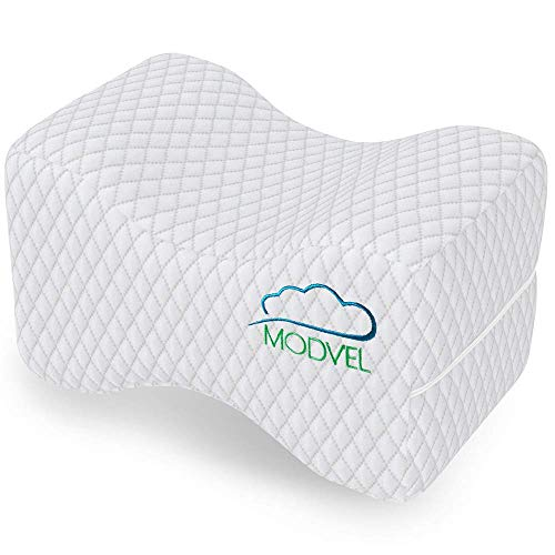 MODVEL Orthopedic Knee Pillow | Memory Foam Cushion for Hip, Sciatica & Lower Back Pain Relief | Provides Support & Comfort (MV-104) (White)