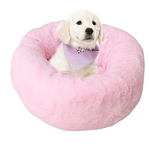 BVAGSS Weich Warm Langes Plüsch Haustier Bett Rund Sofa für Katzen Hund XH029 (L, Pink)