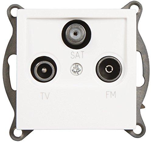 MC POWER - Antennendose   FLAIR   für TV, Radio und Sat, UP, weiß, matt