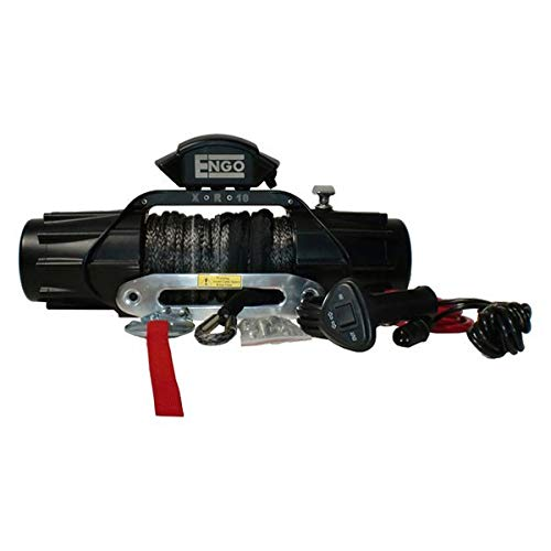 Engo (Xr Model) 10,000 Lb. (4536Kg) 12 Volt Electric Winch with Syn. Rope(Bs Finish)(Ip68)